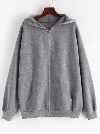 ZAFUL Fleece Lined Drop Shoulder Hooded Zip Coat - Light Slate Gray M