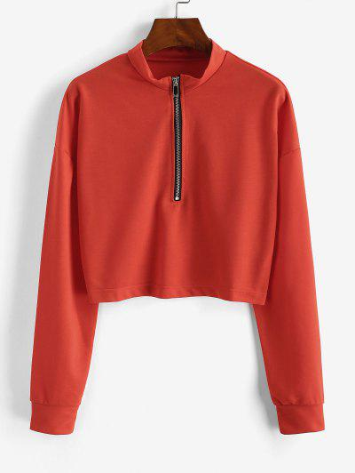 Sweat-shirt Court à Demi-Zip - Orange S