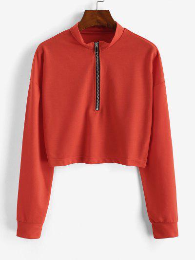 Half Zip Cropped Pullover Sweatshirt - Orange M
