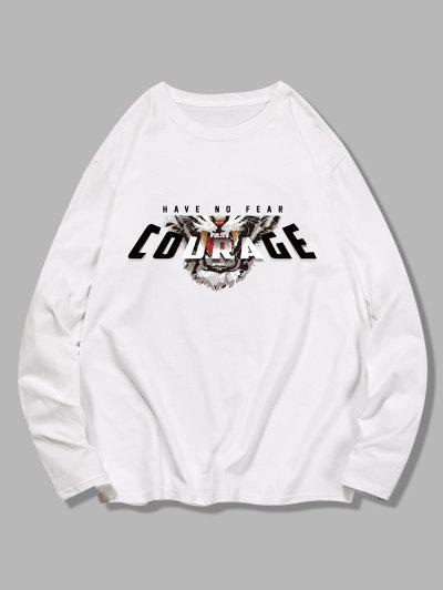 T-shirt Motif De Tigre Avec Paillette à Manches Longues - Blanc M