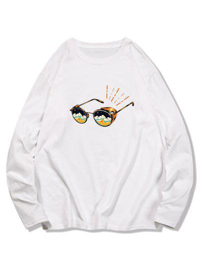 Sunglasses Printed Long Sleeves T-shirt - White 2xl
