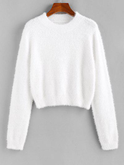 ZAFUL Fuzzy Short Sweater - White M