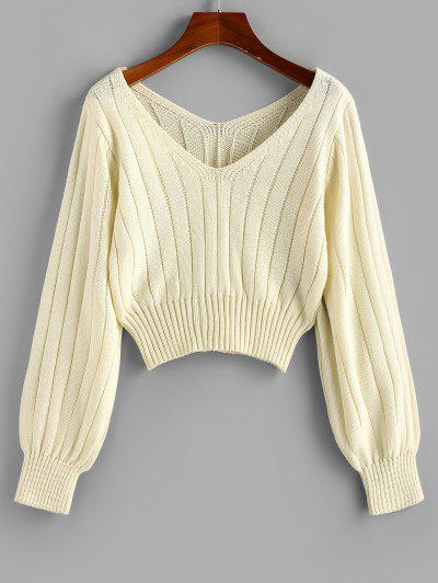 ZAFUL Ribbed V Neck Jumper Sweater - Light Coffee L