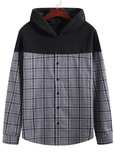 Grid Print Button Up Fleece Patch Hoodie - Multi-a 2xl