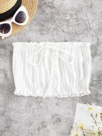 Ruffle Hem Bowknot Beach Bandeau Top - White