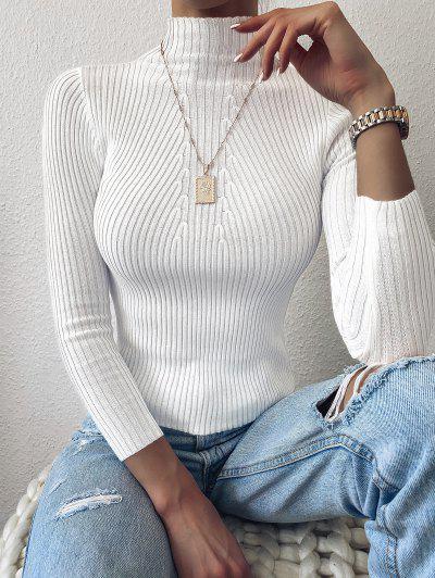Pullover Mock Neck Plain Slim Sweater - White