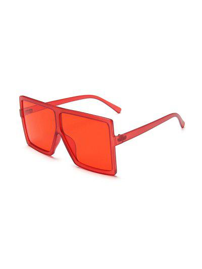 Oversized Square Retro Sunglasses - Red