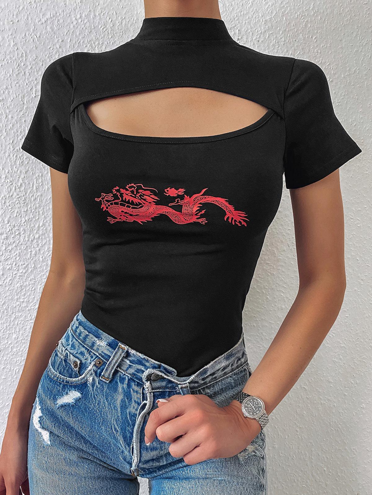 Oriental Cutout Dragon Print High Neck Bodysuit
