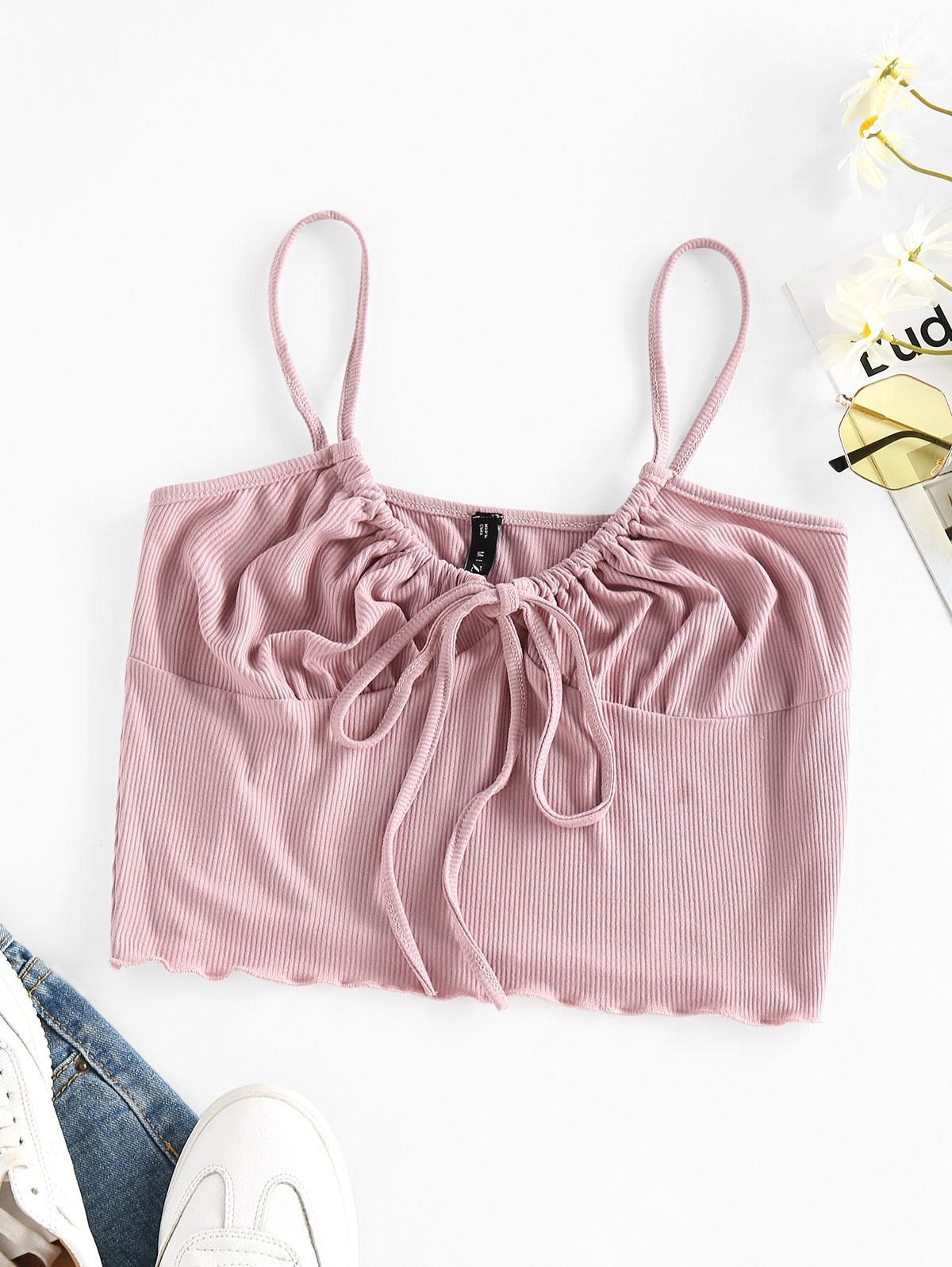 ZAFUL Tie Front Ribbed Bralette Top