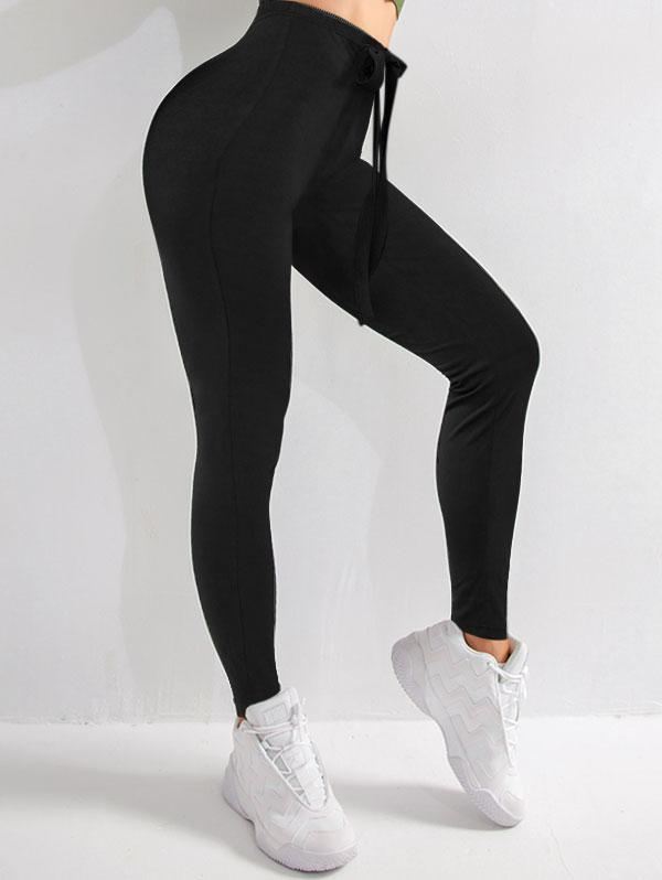 ZAFUL Lace Up Elastic Waist Skinny Leggings
