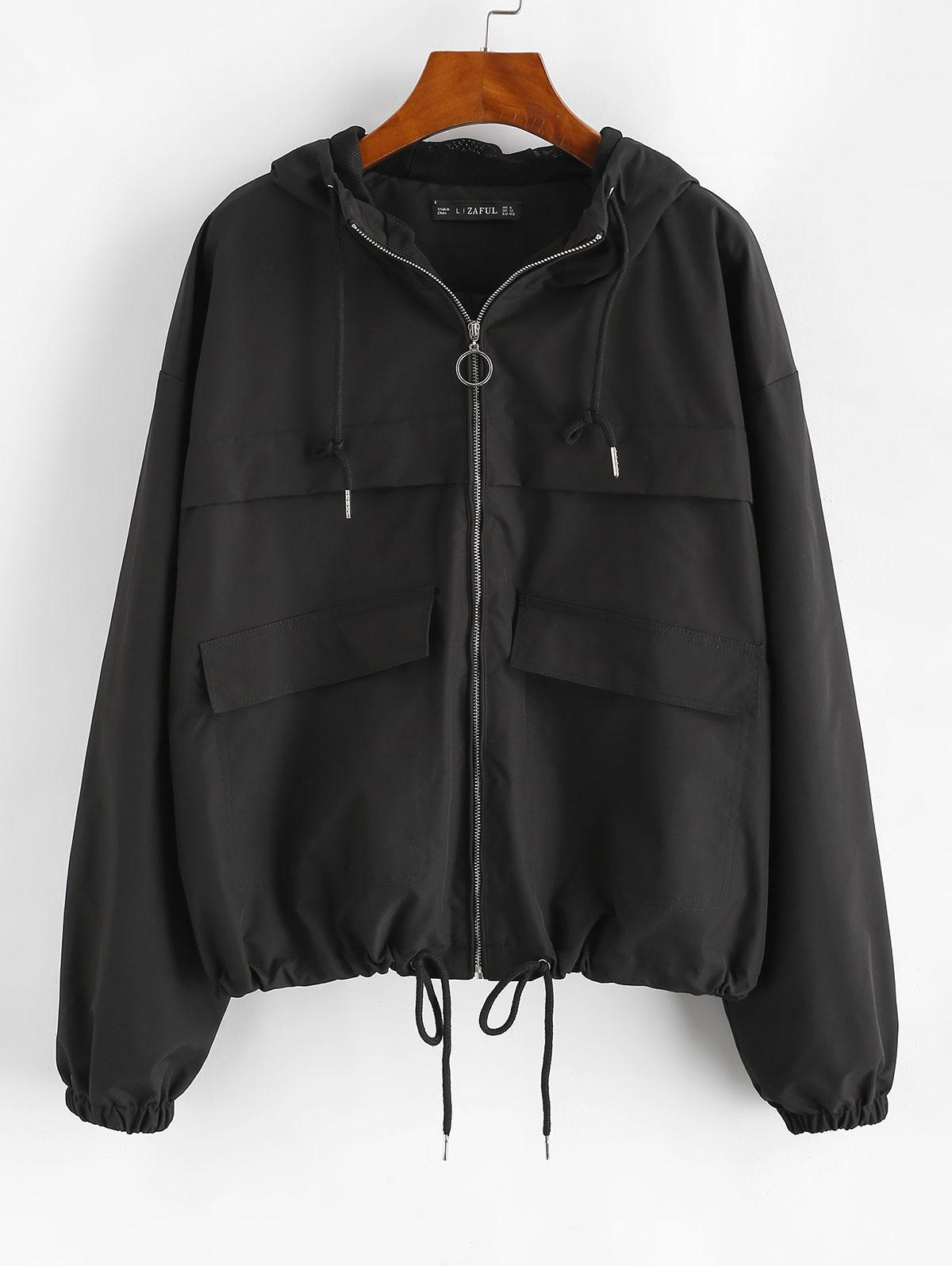 ZAFUL Hooded Full Zip Windbreaker Cargo Jacket