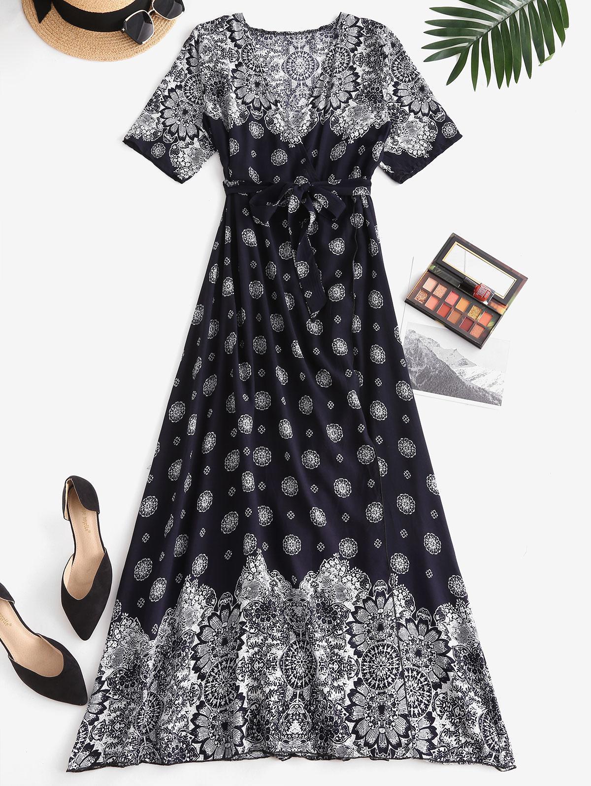 Bohemian Printed High Slit Maxi Surplice Dress