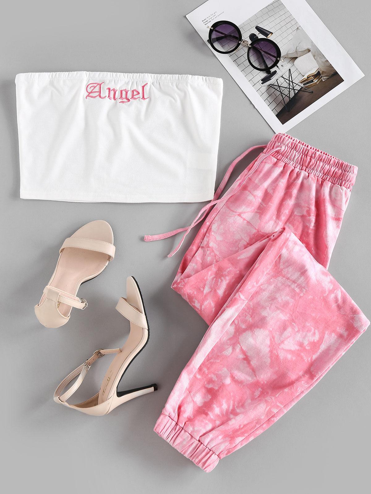 ZAFUL Tie Dye Angel Graphic Strapless Jogger Pants Set