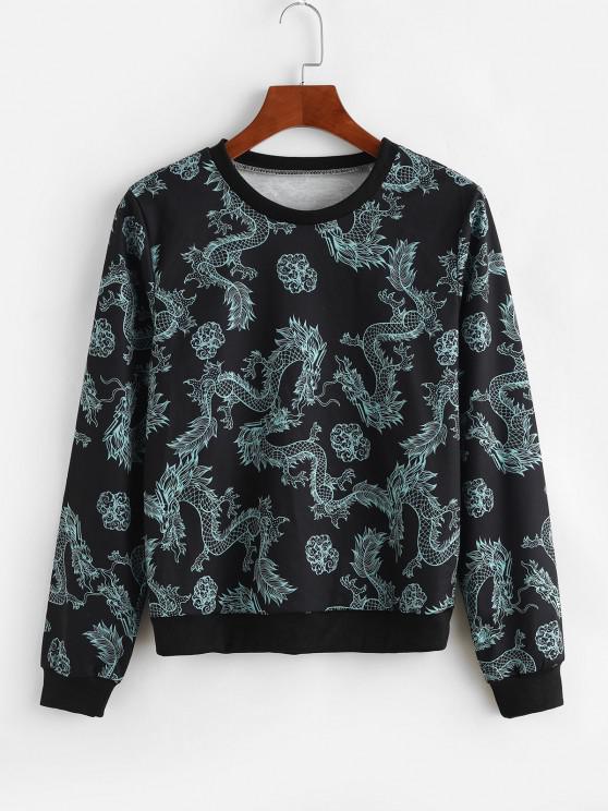 chic Dragon Print Chinoiserie Sweatshirt - BLACK L