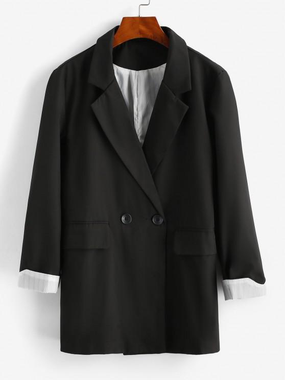 Striped Cuff Pocket Long Blazer - أسود XL