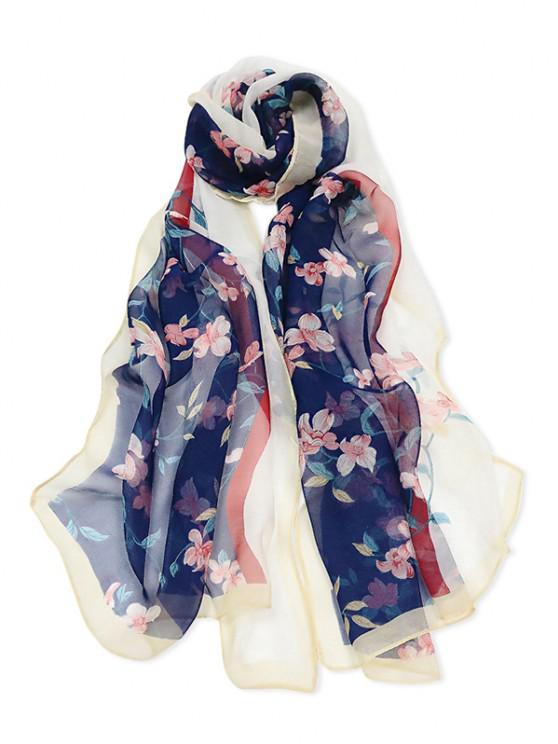 outfit Floral Print Colorblock Long Scarf - MULTI-B