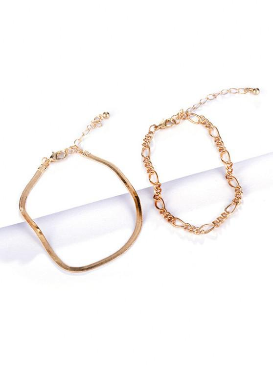 2Pcs 18K Gold Plated Bracelet Set - ذهبي