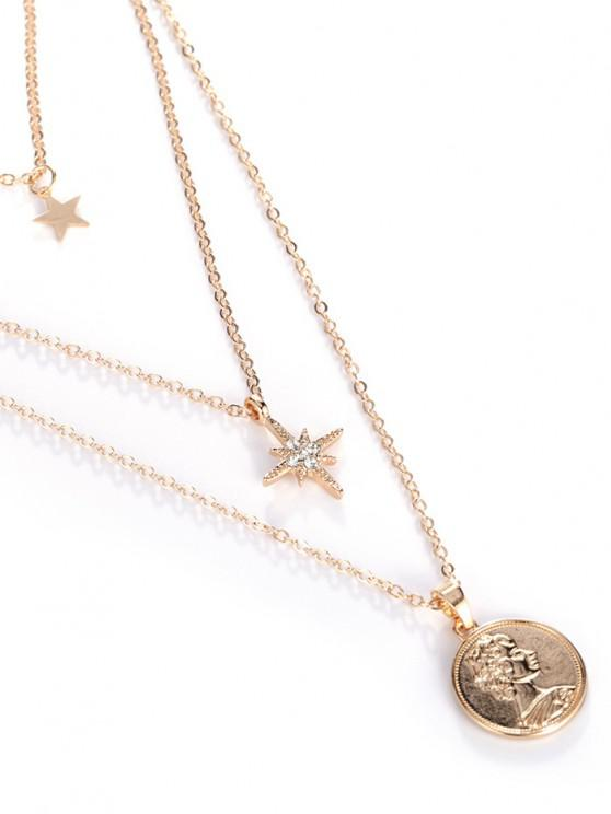 18K Gold Plated Star Portrait Layered Necklace - ذهبي