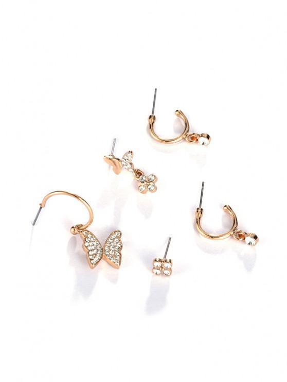 womens 5Pcs 18K Gold Plated Butterfly Earrings Set - GOLDEN