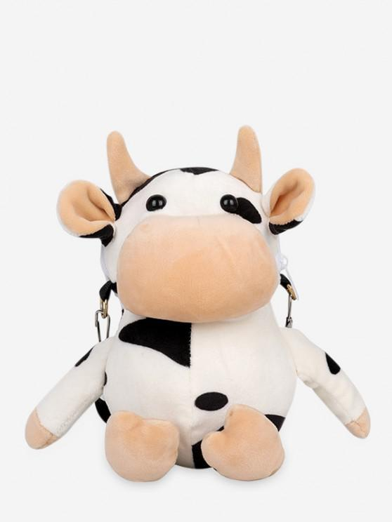 fashion Cute Plush Cow Mini Crossbody Bag - WHITE