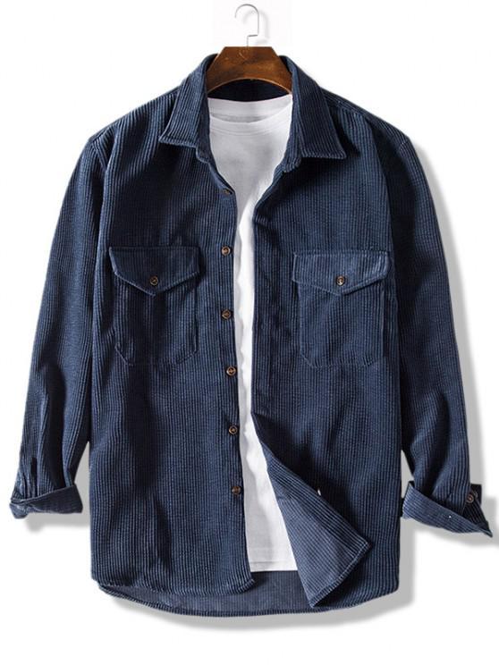 Pure Color Front Pockets Corduroy Casual Shirt - داكن سليت أزرق 3XL