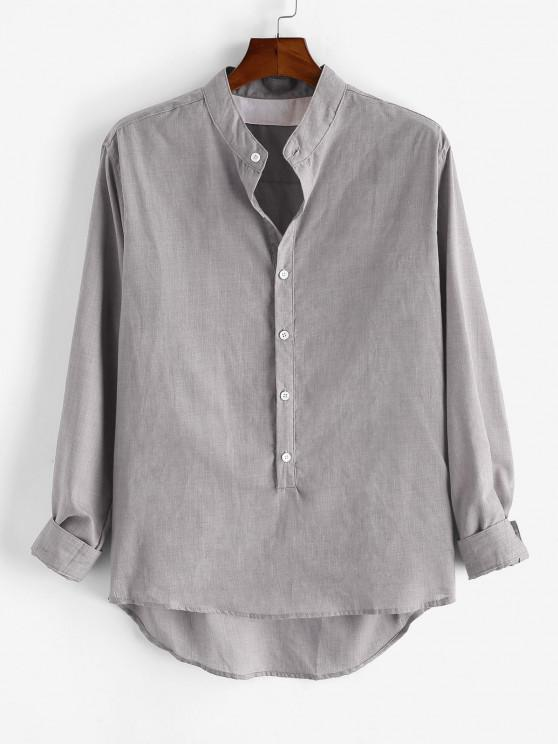 hot Solid Long Sleeve Button Down Shirt - LIGHT GRAY 3XL