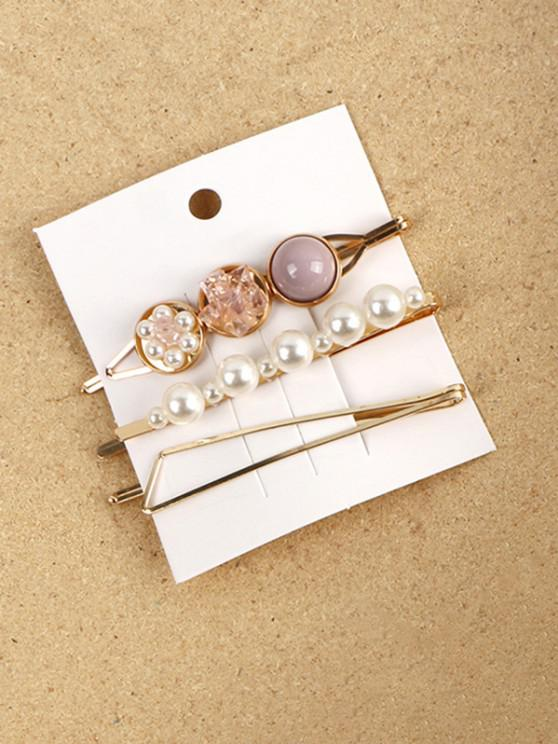 best 3 Piece Faux Pearl Geometric Hairpins Set - LIGHT PURPLE