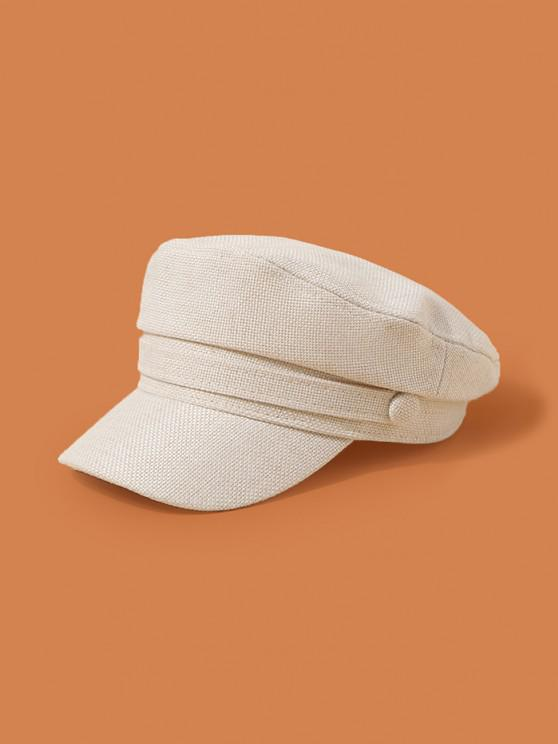 shops Plain Linen Military Cap - BEIGE