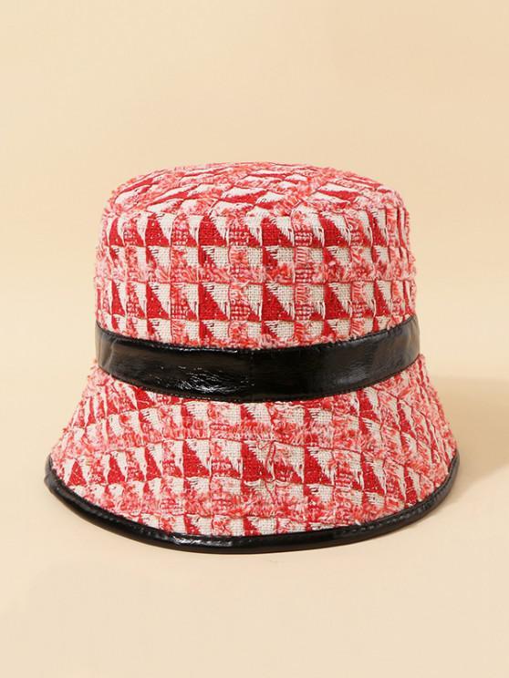trendy Tweed Plaid Bucket Hat - LAVA RED