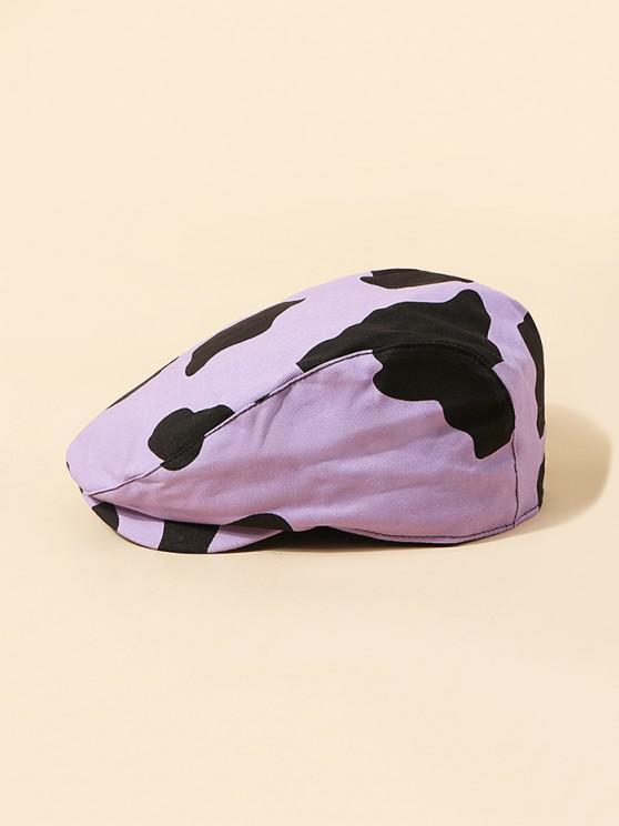 Béret Vintage Motif de Vache - Mauve