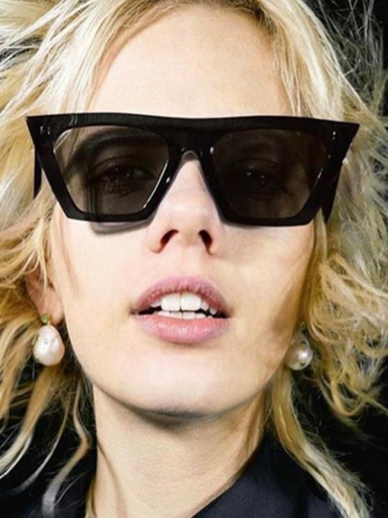 fancy Trapezoid Wide Rim Sunglasses - BLACK