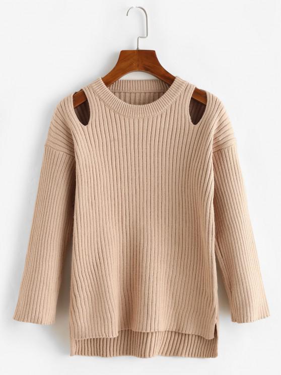 Crew Neck Cut Out High Low Slit Sweater - القهوة الخفيفة حجم واحد