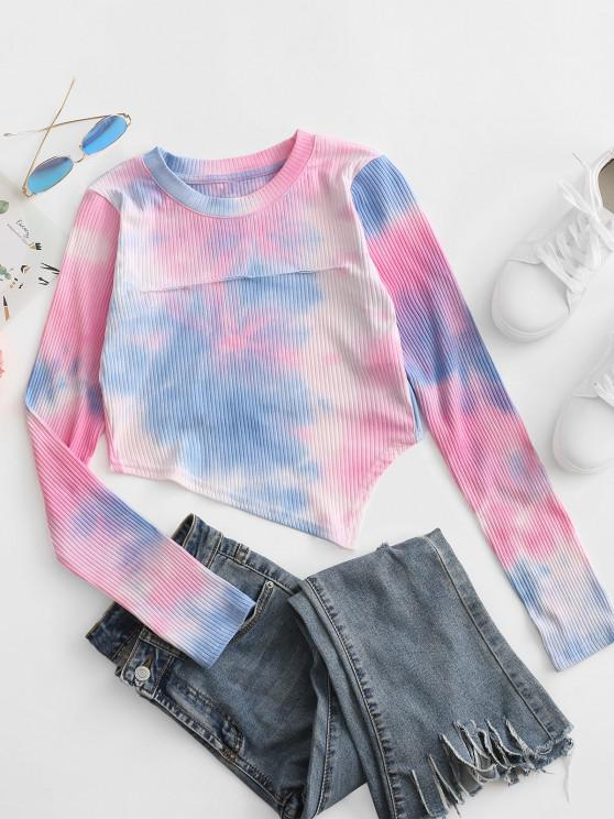 lady Tie Dye Ribbed Asymmetrical Ripped Tee - HOT PINK L
