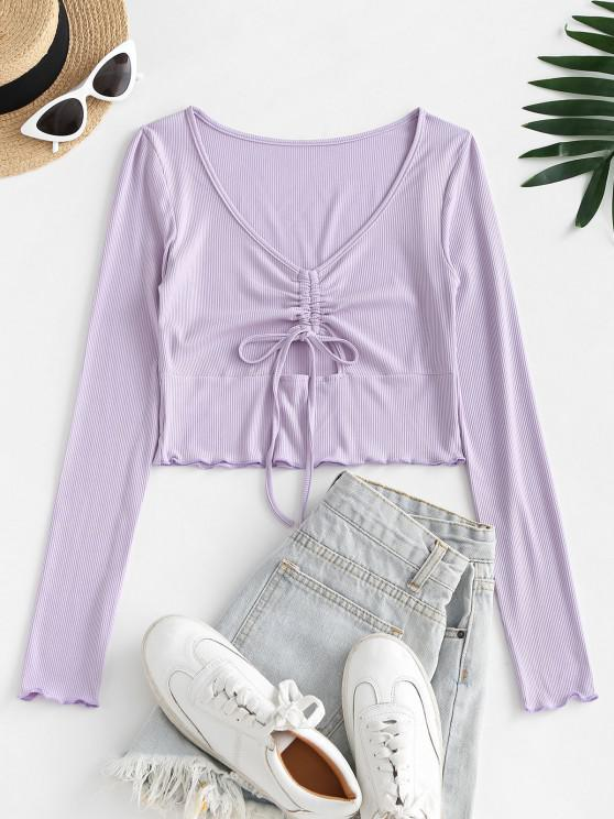 trendy Cut Out Ribbed Cinched Front Tee - MAUVE S