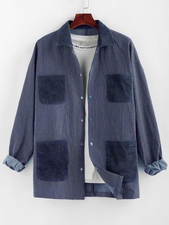 ZAFUL Colorblock Pocket Patch Pinstripe Shirt Jacket - متعدد 2XL