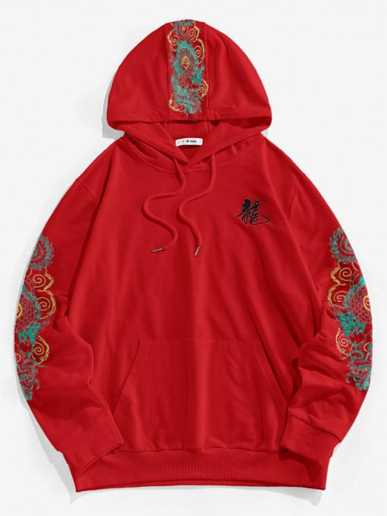 best ZAFUL Kangaroo Pocket Dragon Embroidered Oriental Hoodie - RED 2XL