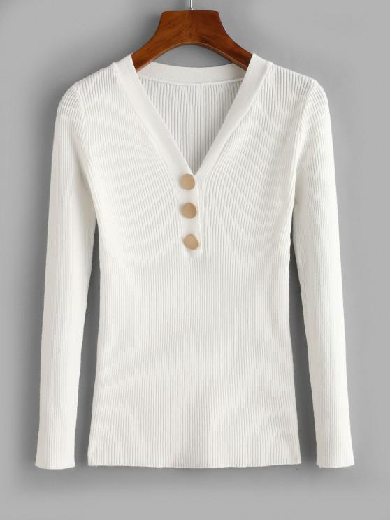 Ribbed Slim Mock Button Sweater - أبيض حجم واحد