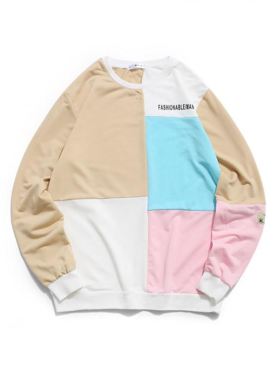 chic ZAFUL Colorblock Panel Letter Print Sweatshirt - MULTI S