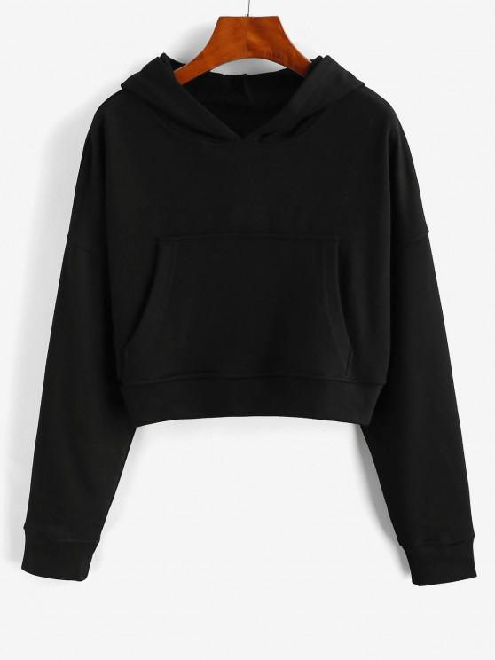 Drop Shoulder Pullover Basic Hoodie - أسود L
