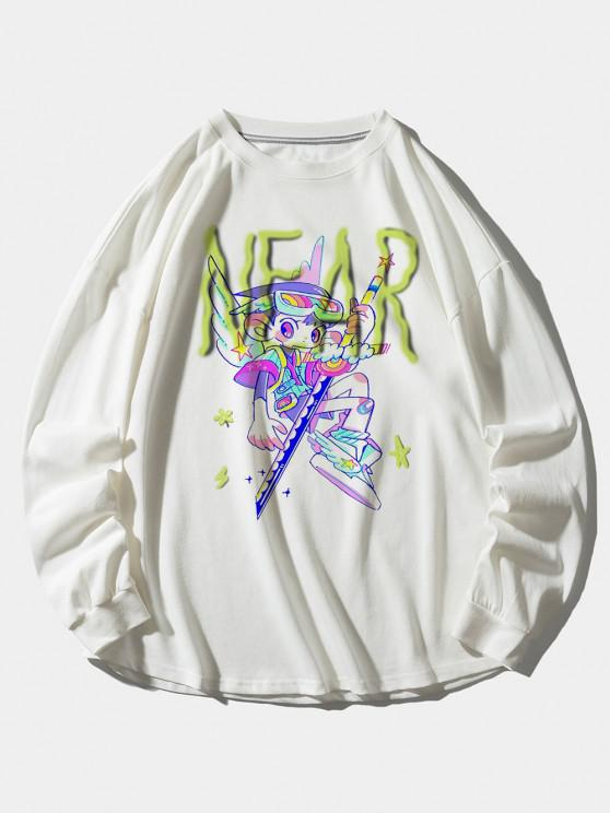 buy Cartoon Angel Letter Print Drop Shoulder Sweatshirt - WHITE XL