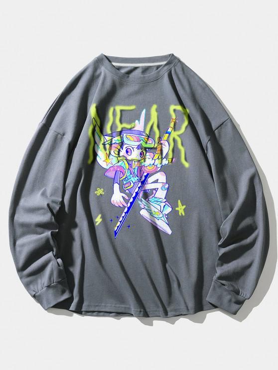 Cartoon Angel Letter Print Drop Shoulder Sweatshirt - ازرق رمادي L