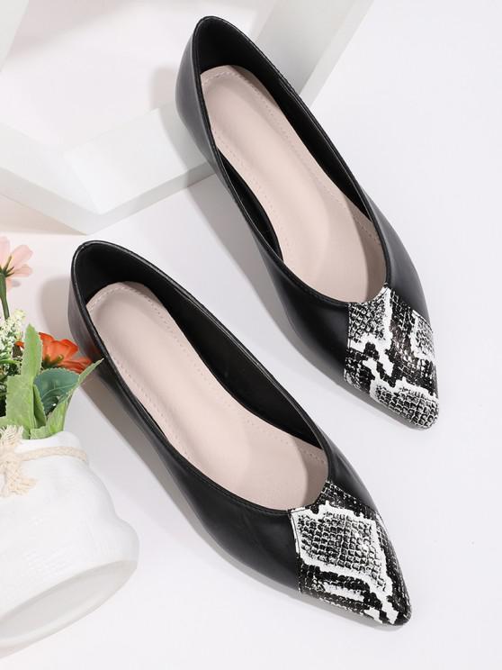 fancy Snakeskin Panel Pointed Toe Flat Shoes - BLACK EU 40