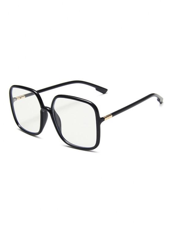 chic Brief Square Plain Glasses - BLACK