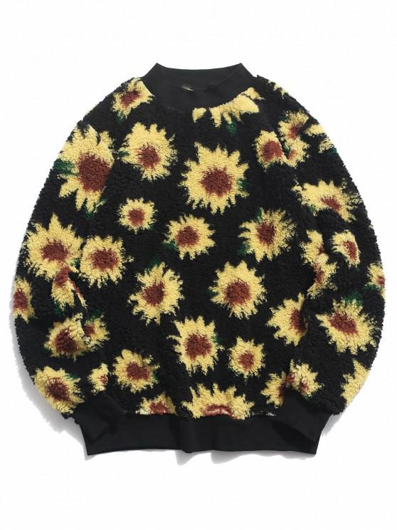 shop Sunflower Pattern Fluffy Pullover Sweatshirt - BLACK M