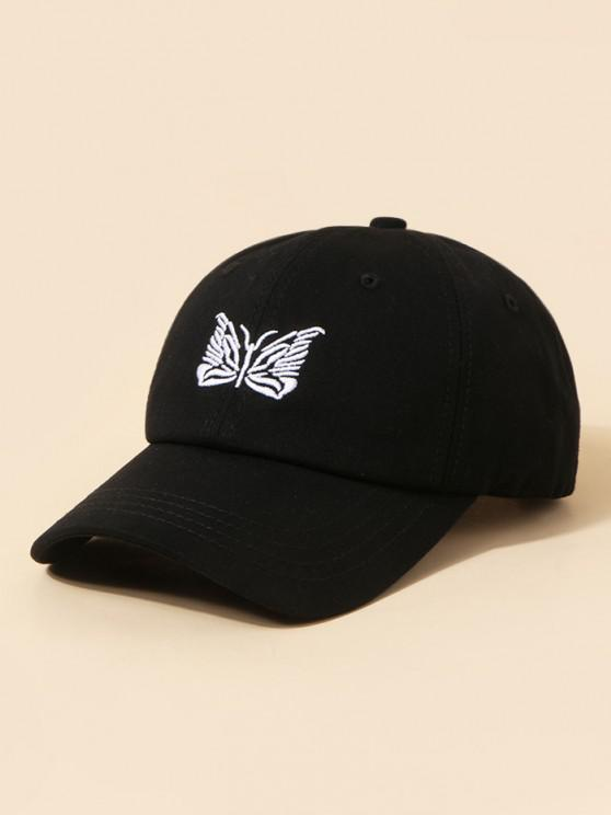affordable Embroidery Butterfly Adjustable Baseball Cap - BLACK