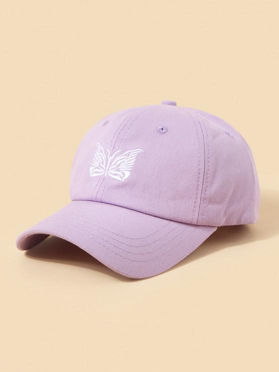 womens Embroidery Butterfly Adjustable Baseball Cap - PURPLE
