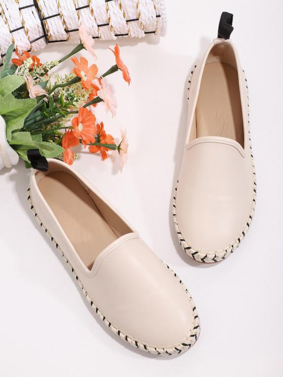 Slip On Braid Flat Shoes - الأبيض الدافئ الاتحاد الأوروبي 39