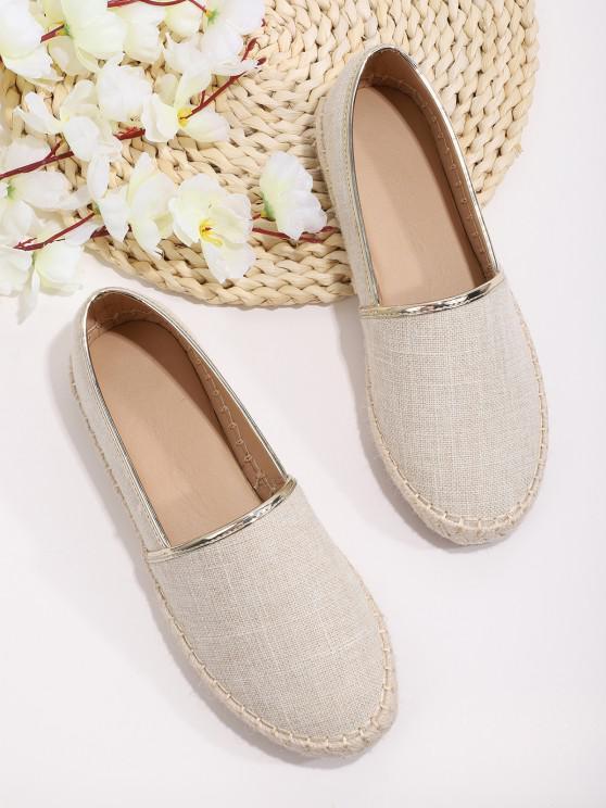 chic Cloth Straw Braid Flat Shoes - WARM WHITE EU 41