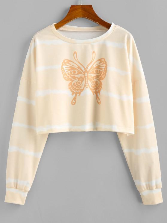 chic ZAFUL Butterfly Print Tie Tye Cropped Sweatshirt - LIGHT COFFEE L