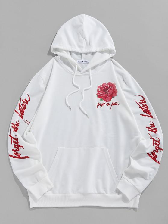 women ZAFUL Flower Letters Print Kangaroo Pocket Hoodie - WHITE S